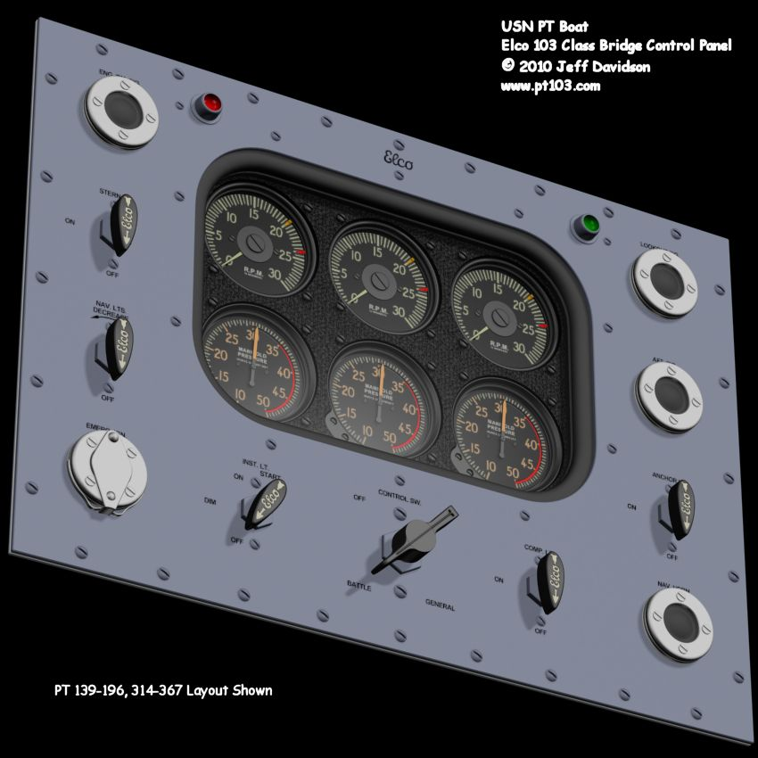 Elco PT Boat 103 Class Bridge Control Panel