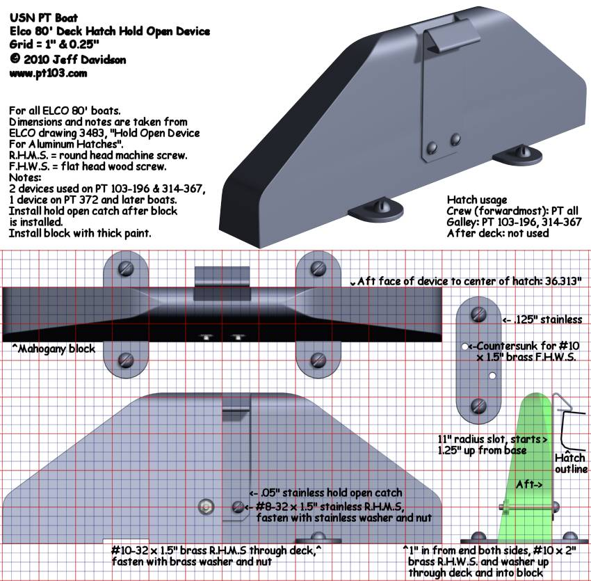 Elco PT Boat 103 Class Deck Hatch Hold Open Device Dimensions